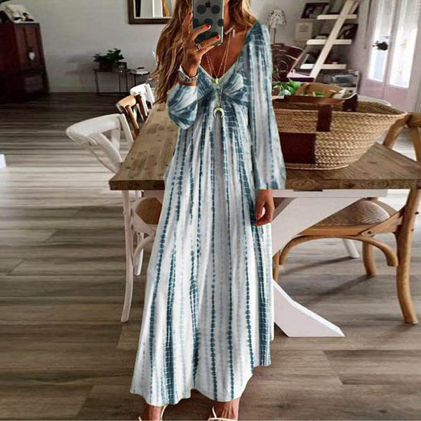Fashion V-Neck Long-Sleeved Tie-Dyed Printed Dresses