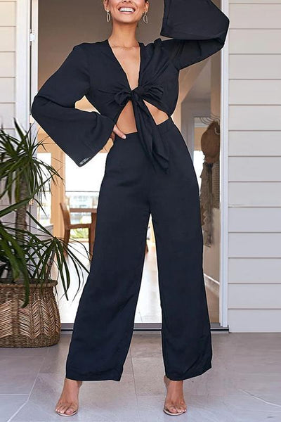 Classy Hollow Out Solid Color Lace-Up Jumpsuits
