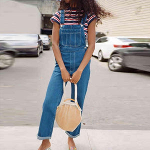 Casual Denim Blue Stitching Slim Long Overalls