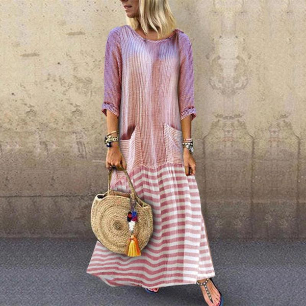Round Neck Long Sleeve Stripe Sidekick Ruffled Loose Splicing Dress