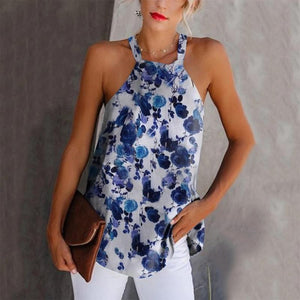 Beach Bowknot A Collar Blended Tank Top