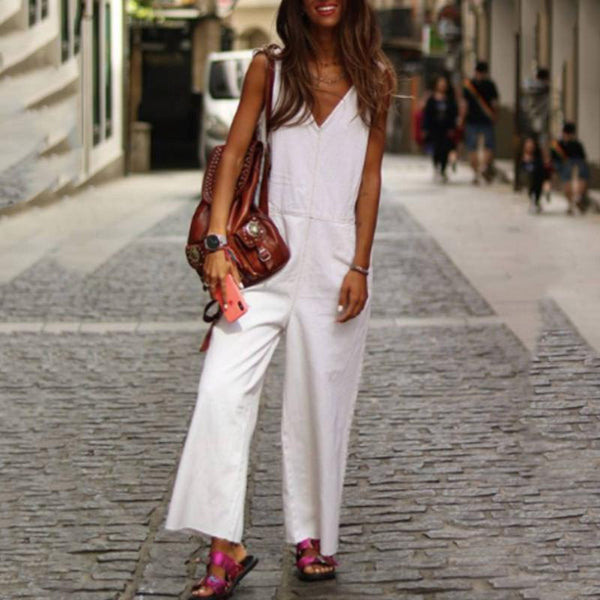 Casual V-Neck Sleeveless Solid Color Jumpsuit