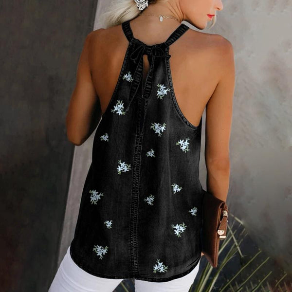 Casual Embroidery Halter Curved Hem Vest