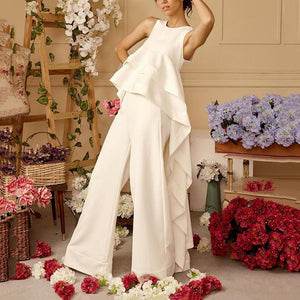 Fashion Round Neck Sleeveless Ruffled Top Wide Leg Pants Suits