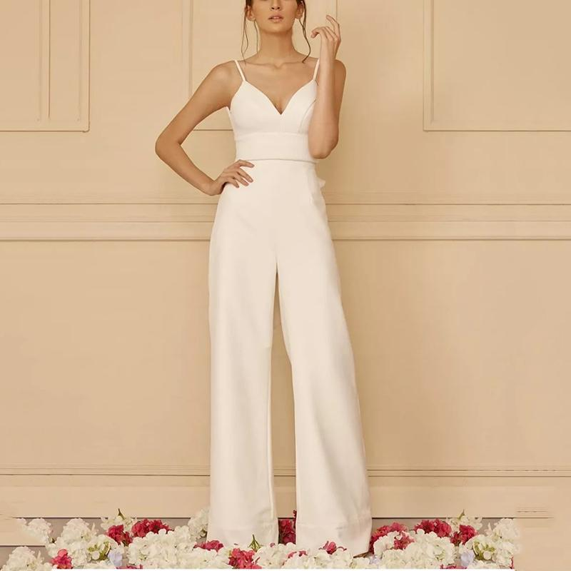Sexy Sling Solid Color Stitching Slim Jumpsuits