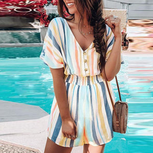 Casual Printed V-Neck Striped Jumpsuit
