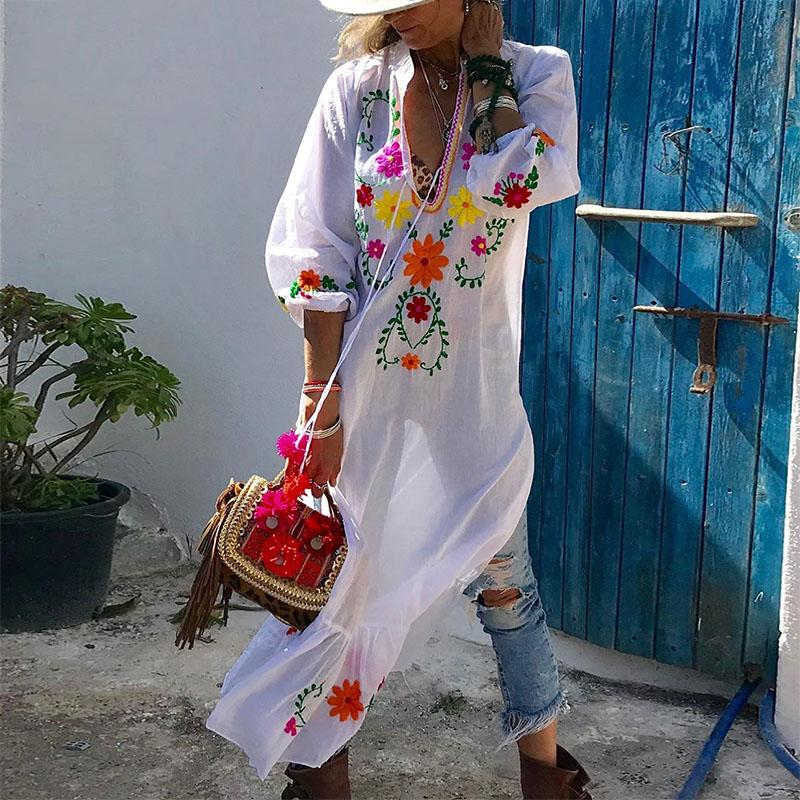 Casual V Neck Printed Colour Splicing Long Dress