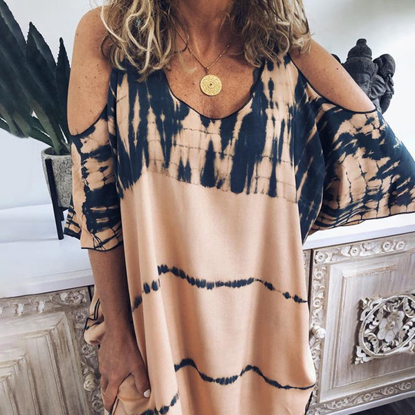 Casual Printed Off Shoulder Halflong Sleeve Dress