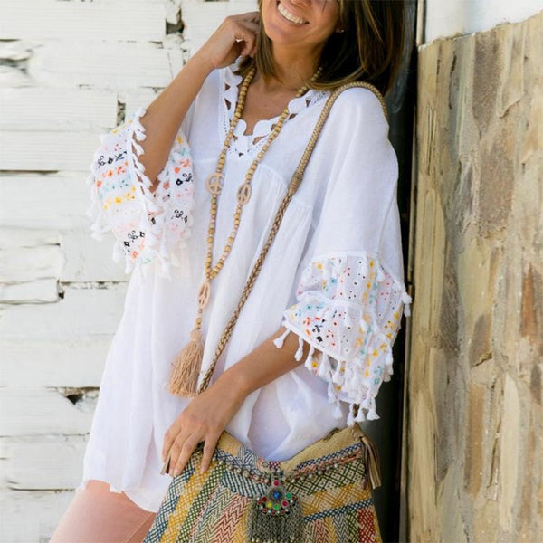 Casual Pure Color Bracelet Sleeve Tassel Dress