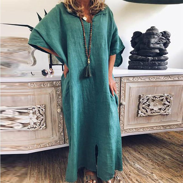 Contracted Temperament Individuality Pure Colour Long Dress
