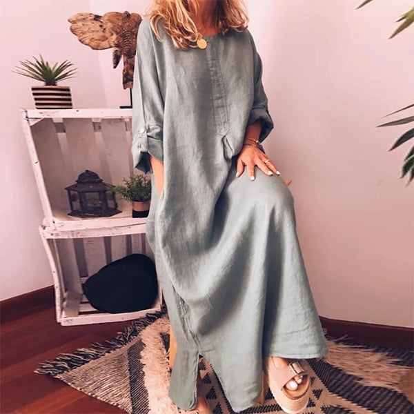 Casual Round Neck Pure Color Halflong Sleeve Dress