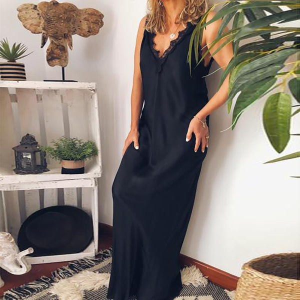 Casual Deep V Lace Sleeveless Solid Color Long Dress