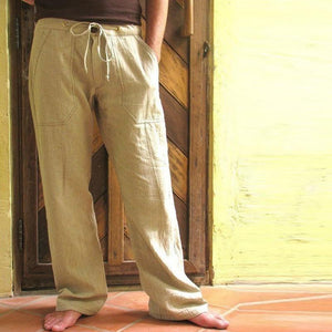 Casual Loose Solid Color Linen Straight Pants