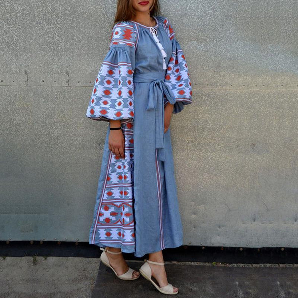 Bohemian Round Neck Tie With Long Flared Puff Sleeve Dress