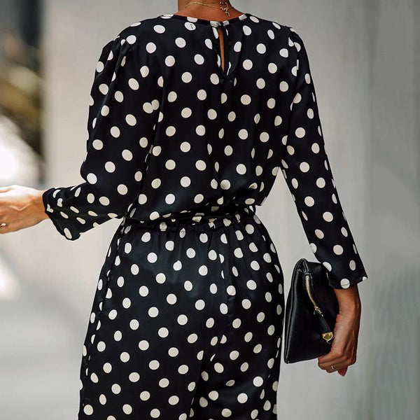 Fashion V-Neck Long-Sleeved Polka-Dot Jumpsuit