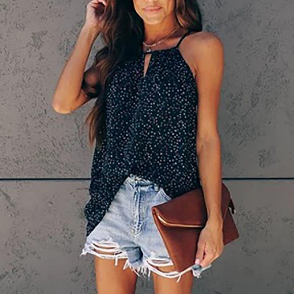 Cute Printed Color Round Neck Street  Tank Top