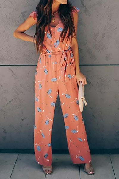 Casual Printed Color V Neck Extra Short Sleeve Jumpsuit