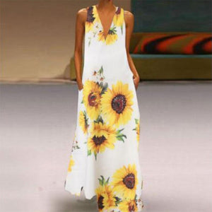 Sexy V Neck Printed Colour Loose Sleeveless Dress