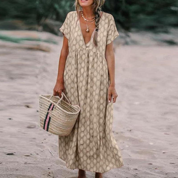 Casual Printed Deep V Neck Short Sleeve Dress