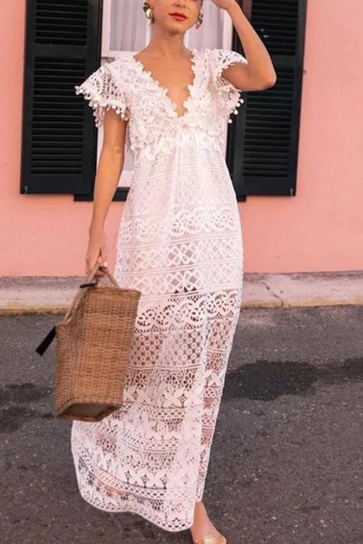 Elegant Lace See-Through Deep V High-Waist Dress