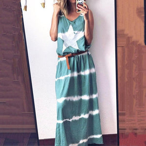 Casual V Neck Sleeveless Star Color Block Long Dress