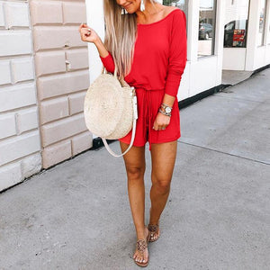 Casual Pure Color Long Sleeves Romper