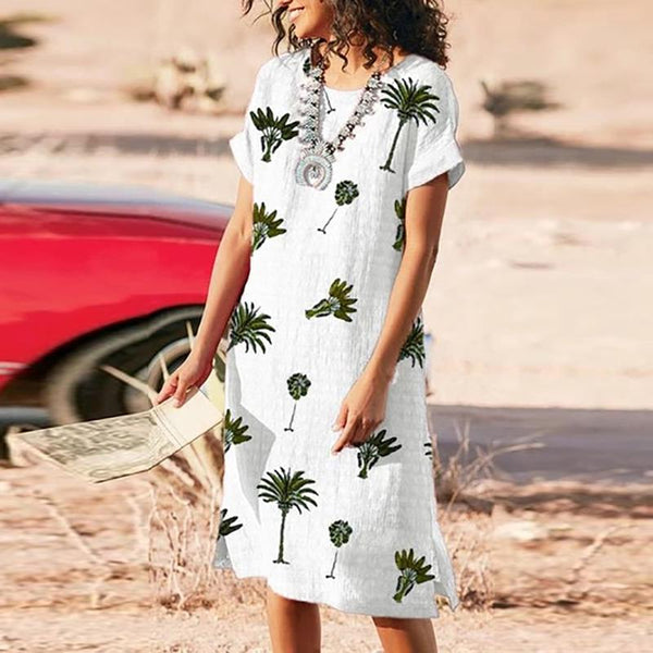 Simple Green Plant Printed Short-Sleeved Dresses