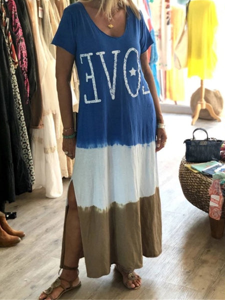Short Sleeve Gradient Color V-Neck Slit Long Dress