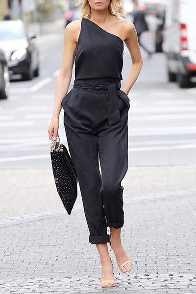 Sexy Solid Color Single Off Shoulder Slim Strap Nine Jumpsuit