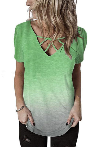 V-Neck Front Chest Personality Cross Gradient T-Shirt