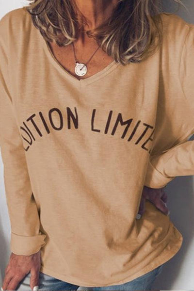 Casual V-Neck Printed Long-Sleeved Loose T-Shirt
