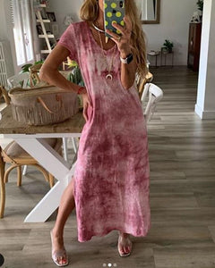 Casual V-Neck Short-Sleeved Tie-Dyed Split Dress