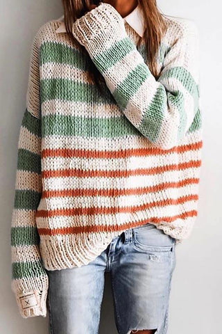 Casual Round Neck Long Sleeve Stripe Loose Sweater