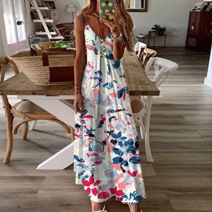 Casual Printed Sleeveless Ankle-Length Sling Dress