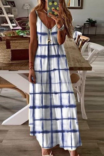 Brief Casual Plaid Printed Ankle-Length Sling Dress