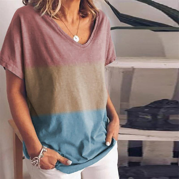 Gradient Contrast Print V-Neck Short-Sleeved T-Shirt