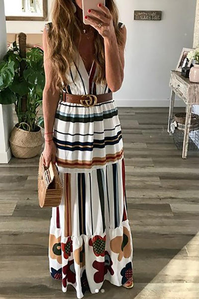 Casual V Neck Stripe Maxi Dresses