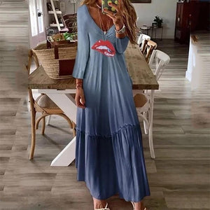 European And American Style V Neck Printed Color Long Sleeve  Dress