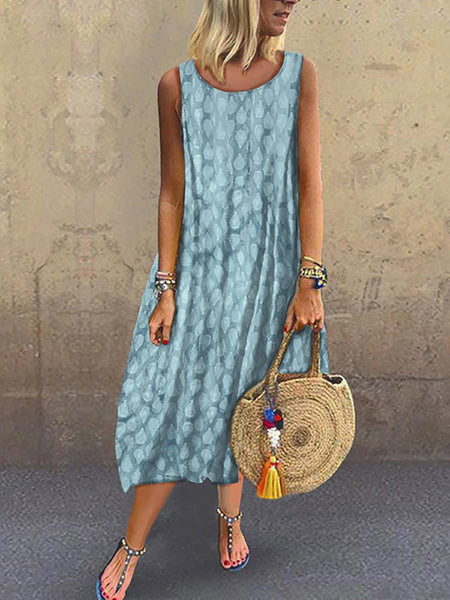 Women's Casual Pure Color Sleeveless Printed Color Dress