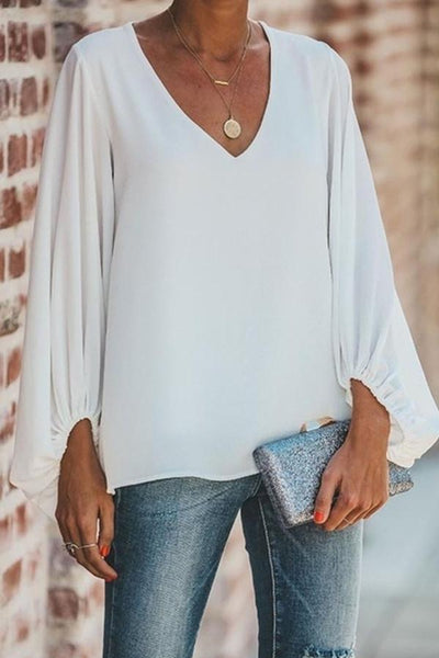 European And American V-Neck Lantern Sleeve Loose Large Size Top