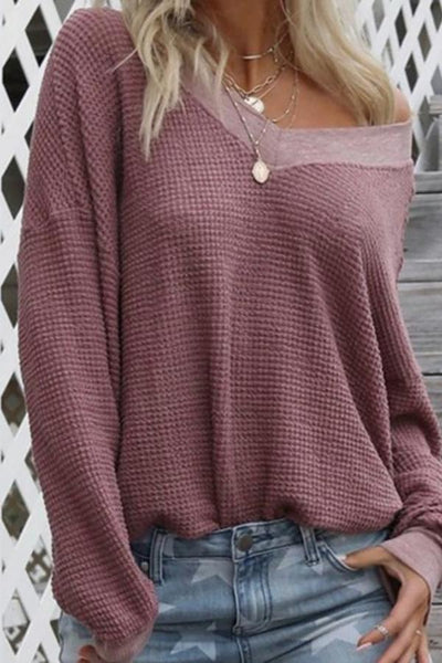 Casual V Neck Solid Color Long Sleeve Knitwear