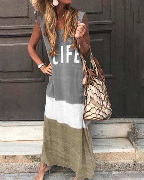 Casual V Neck  Letter Printed Colour Maxi Dresses