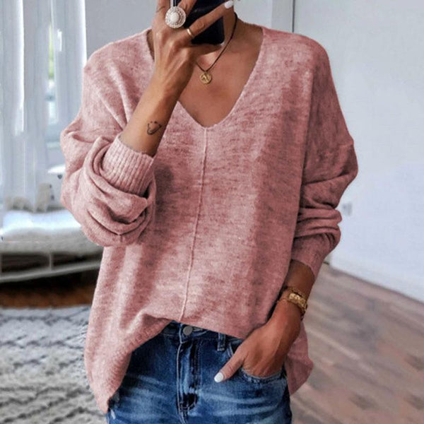 Commuting V Neck Long Sleeve Pure Colour Splicing Sweater