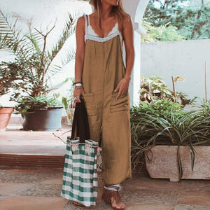 Casual Pure Colour Patch Pockets Ankle-Length Sling Jumpsuit
