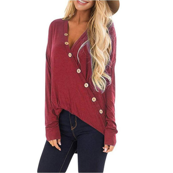 Button V-Neck Long-Sleeved T-Shirt
