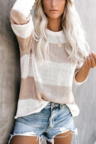 Casual Round Neck Long Sleeve Color Block Sweater