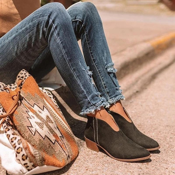 Women's Casual Temperament Solid Color Pointed Side Zipper Ankle Boots