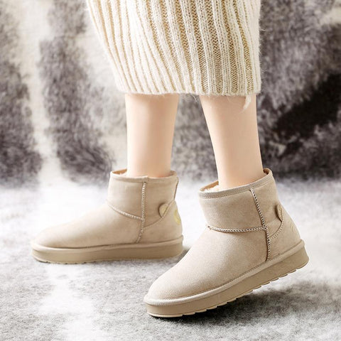 Women's Casual Solid Color Cute Cat Warm Snow Ankle Boots