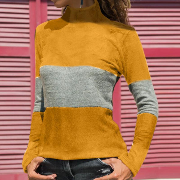 Fashion Casual Color Block Long Sleeves T-Shrit