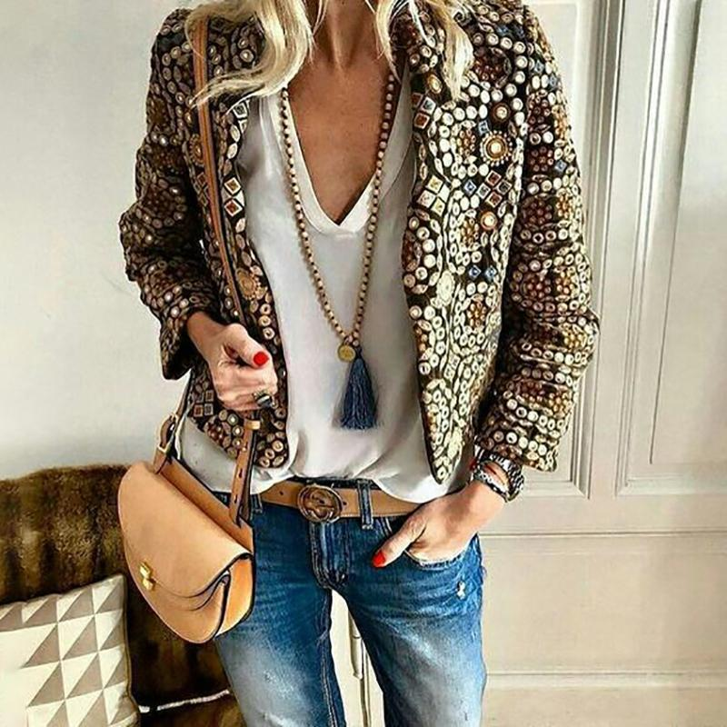 Women's Vintage Long Sleeve Hot Drilling Paillette Loose Blazer